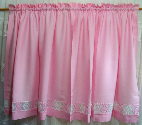Vintage pink cafe curtains shirred window curtain pink curtains