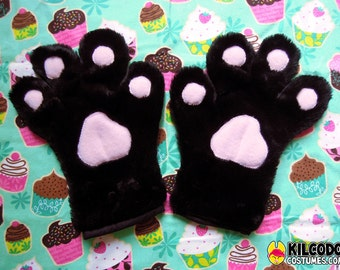 Toony Four-Finger Paw Gloves - Handpaws - Furry - Fursuit - Cosplay - Costume - Paws - Black