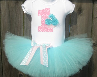 Baby's First Birthday Aqua and Pink Cupcake Tutu Set and Matching Headband | Birthday Photo Prop, Party Dress