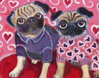 "Valentine pugs, 5"" x 5"" blank dog art card"