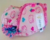 Fitted Diaper in Hello Kitty n' Hearts - NB birth-14lbs - serged aqua cv
