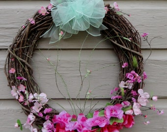 Grapevine wreath of pink azalea's, blush and bashful twigs, handmade seafoam green sheer bow