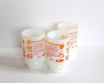 Morning Prayer Mug - Milk Glass Coffee Mug - Kitschy Mug - Footed Glass Mug - Three Mugs