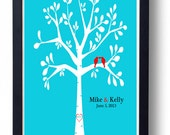 Personalized Wedding Gift, Love Birds in Rustic Tree  Wedding Date Art, Turquoise Red