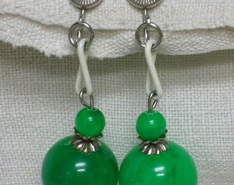 Lucite Ball Earrings, Emerald Green Dangling Clip on 1950s