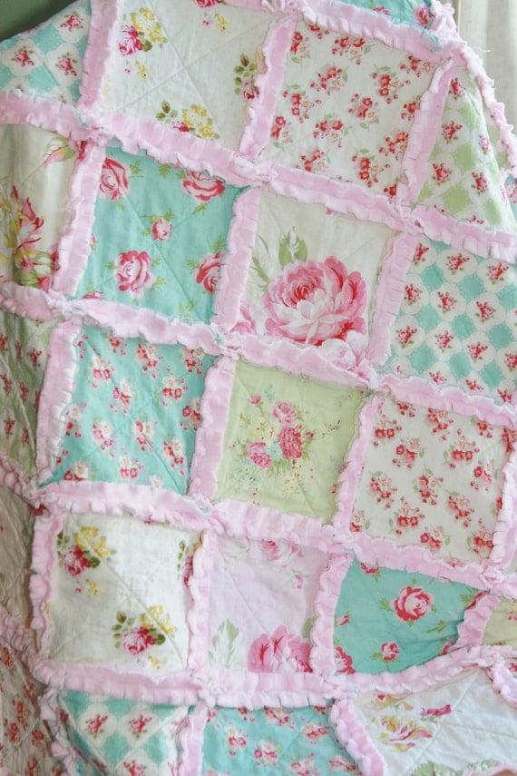 Shabby Chic Rag Quilt Baby Girl Rag Quilt Pink Blue Green