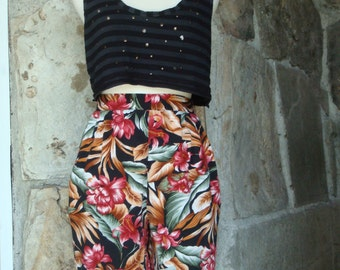 80s TROPICAL SLOUCHY SHORTS vintage high waist rayon M