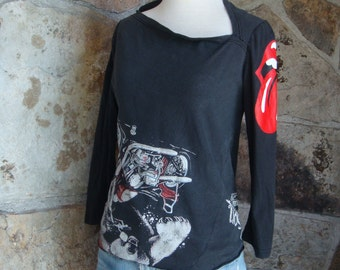 UPCYCLED STONES HARLEY top t shirt vintage remade biker tee