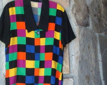 80s COLORBLOCK SLOUCH SHIRT vintage