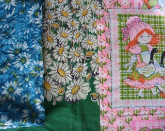 70s DAISY FLOWER FABRIC vintage remnants 3 designs girly cute