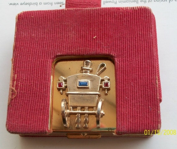 Flato Jeweled Compact Hallmarked with protective sleeve and lipstick 1940 Vintage Collectible