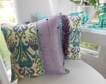 Purple Pillow Decorative Pillow - Ikat Sumter Opal Design Pillow - Reversible 15 x 15 Inch - Curly Fringe Accent - Eggplant Purple and Teal
