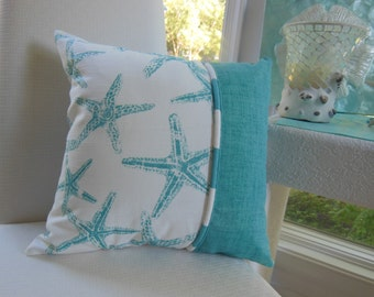 Starfish Pillow - Coastal Blue Beach Pillow - Beach Pillow - Reversible 15 x 15 Inch - Coastal Blue and White Pillow - Starfish and Stripes