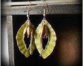 Brass Leaf Dangle Earrings - CoccoJewelry