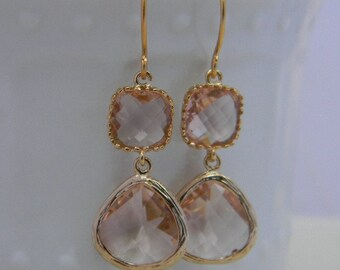 Champagne Peach Earrings in Gold -Dangle Earrings- Bridal-Wedding-Bridesmaid Gift