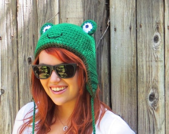 Frog Hat (crochet animal beanie with ear flaps)