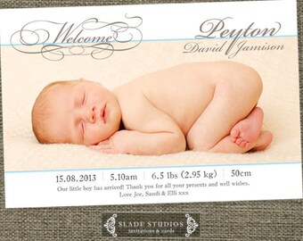 Welcome florish baby birth announcement photo cards. Thank you cards Printable.