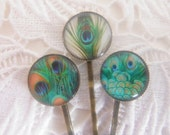 3 x Bobby Pins Green Aqua Blue Peacock Feather Clips Bobby Pins