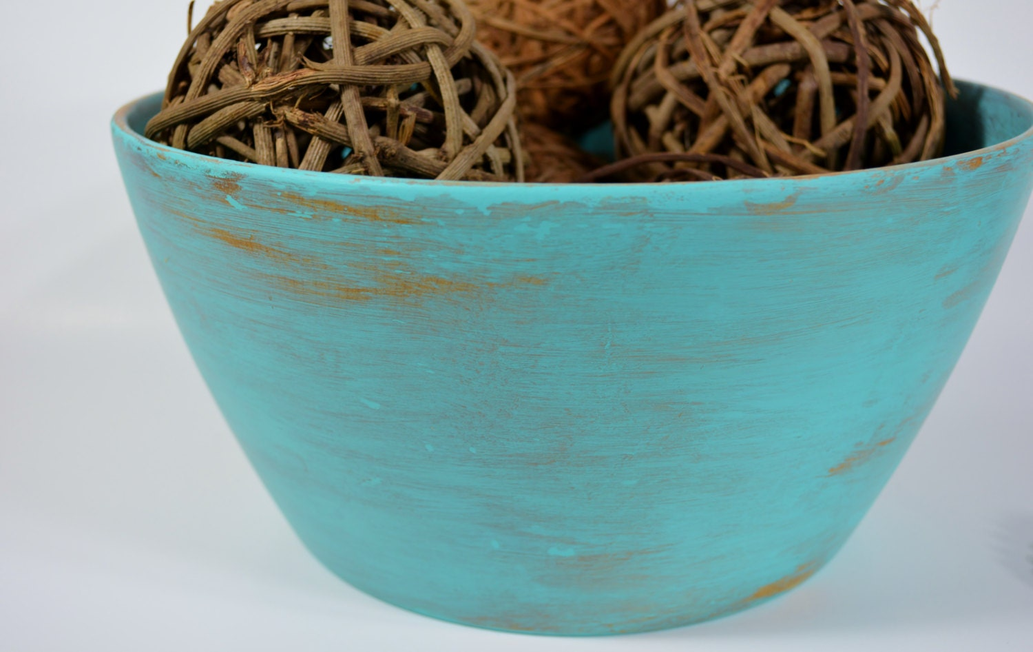 Decorative wooden bowl centerpiece distressed light