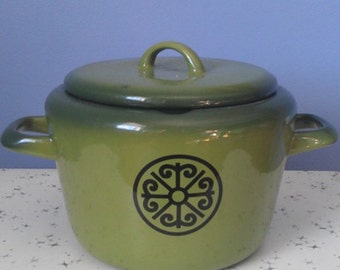 Vintage Green Enamelware Sauce Pan with Lid