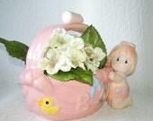 Vintage Baby Girl Planter Vase Ceramic Pink Word Baby & Infant Girl Figure on Side Attached Handle