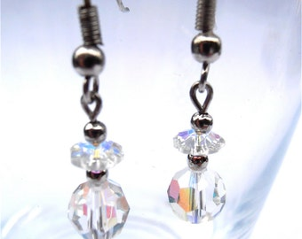 Vintage Crystal Faceted Ball Earrings Rainbow Aurora Borealis Rondelle Swarovski Component Element Sparkling Silver Tone Villacollezione