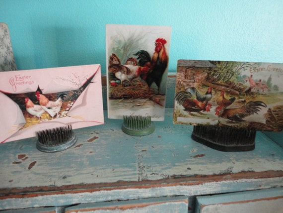 Beautiful Easter postcards chickens and rooster theme