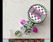 Nurse Personalized Id Badge Reel, Necklace or Keychain. Caduceus or Nurse hat charm. RN, LPN, NP