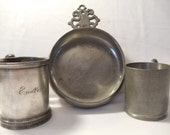 Vintage Collection of Pewter Colonial Bowl and Century old  Cups - BuslinHeirlooms