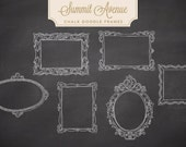 Chalk Fancy Doodle Frames - clip art - Vector & PSD files - INSTANT DOWNLOAD