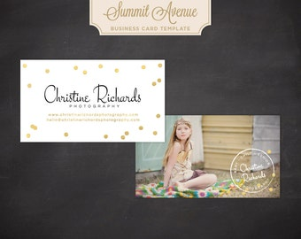 INSTANT DOWNLOAD Business Card design template - Gold Confetti by Summit Avenue