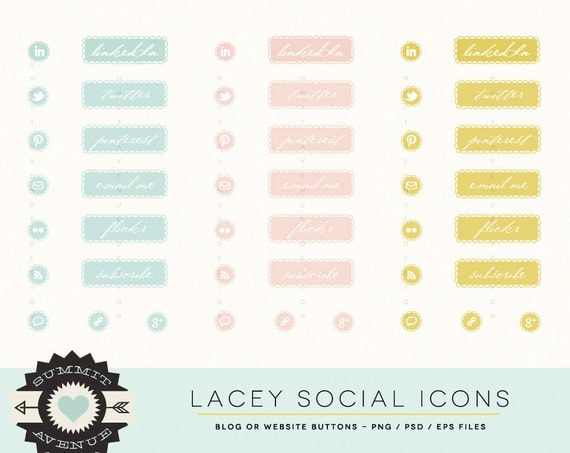 INSTANT DOWNLOAD  Lacey Social Icons for your blog or website - Personal, Small Commercial or Photography use