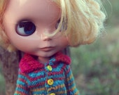 Knitted Noro cardigan for Blythe
