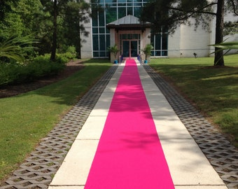 Hot Pink  Custom Made Aisle Runner 30  Feet Long 36 inches Wide