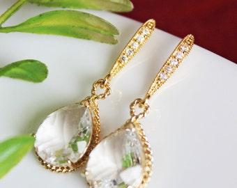 Crystal Drop Bridal Earrings, Gold Crystal Clear Wedding Earrings, Bridesmaid Earrings, Rhinestone Earrings