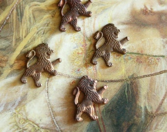 4 Vintage Old Brass Dualing Lion Pendant Charms