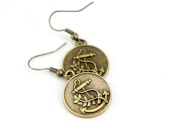 Anchor Coin - Antiqued Brass Vintage Style Anchor Dangle Earrings - CP024