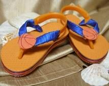 One of a Kind - Hand Decorated - Infant Flip Flops size 3/4  (orange & blue)