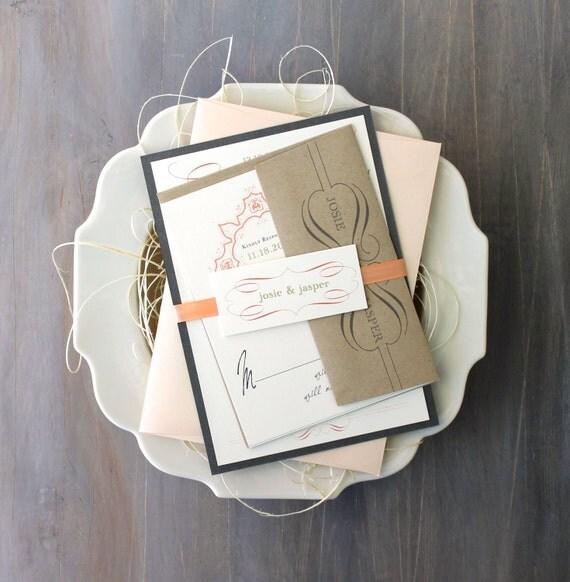 """Peach and Gray Wedding Invitations, Romantic Gray, Ivory, Elegant, Gold, Wedding Invites, Rustic Elegant - """"Peaches & Cream"""" Deposit"""