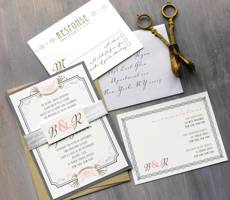 Art Deco Wedding Invitation: Art Deco Wedding Invitations Modern Gold And Silver By