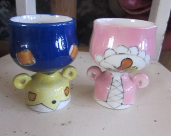 pr funky egg cups. two egg cups vtg