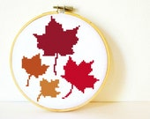 Counted Cross stitch Pattern PDF. Instant download. Maple Leaves. Includes easy beginners instructions.