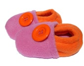 SALE Fleece Slippers Baby Toddler - Pink & Orange - 3-6mo, 6-12mo, 12-18mo - LittleTadpoleDesigns
