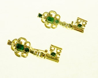 Vintage Brooches 2 Keys Green Gold Tone Christmas May Birthday 55th Anniversary Holiday Special Occasion Gift Ideas Gifts Stocking Stuffers