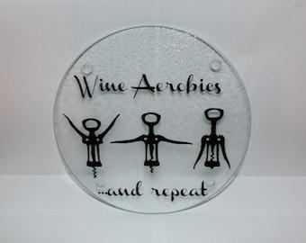 Wine Aerobics 8-inch Rounds Glass Cutting Board
