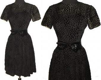 Vintage 1950s Dress . Black Illusion Couture New Look Femme Fatale Garden Party Mad Man Cocktail Hourglass Rockabilly Wiggle