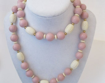 Napier Pink and Cream Bead Necklace Vintage
