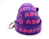 Purple Adopt Me Dog Collar and Leash, Rescue Dog Collar, Foster Dog Collar, Purple Dog Leash, Shelter Pet Leash, Pets, Dog Leash