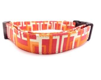 Orange Dog Collar, Modern Dog Collar, Geometric Dog Collar, Peach Dog Collar, Decodence Dog Collar, Large Dog Collar (M, L, Leash Sizes)