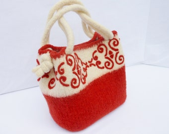 Dark Rust and Cream Felted Wool  Fiber Art  Bag, hand Knit  with needle felted graphic design